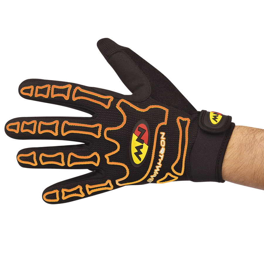 Northwave Skeleton Long handschuhe - Schwarz Orange Fluo
